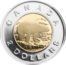 twoonie Canadian two dollar coin