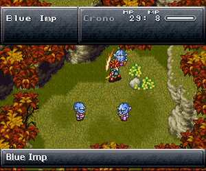 Example of a basic battle from the GREATEST SNES RPG EVER