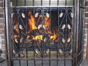 Fireplace with grate