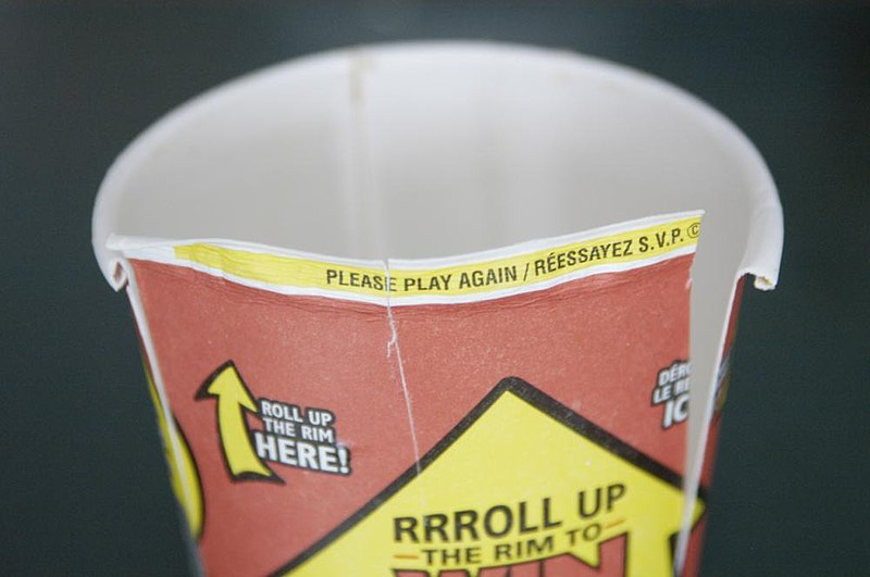 Photo of a losing Tim Hortons Roll Up the Rim to Win cup