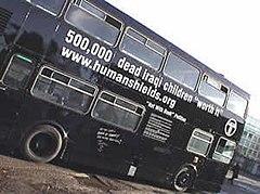 Human shields black bus, 25 January, 2003