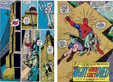 Spider-Man fails to save his love, Gwen Stacy.
