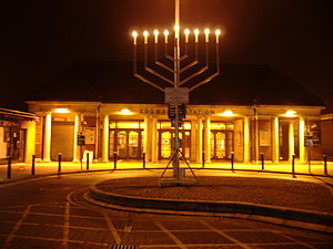 Hanukkah menorah outside Edgware tube station,...