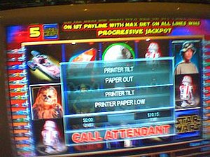 Display screen of a slot machine in tilt mode