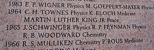 Feynman's prize commemorated on the monument a...