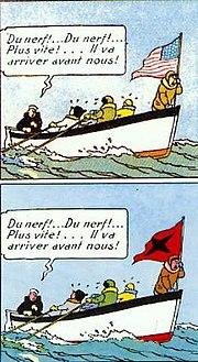 Pada awal versi, bendera saingan ekspedisi Tintin adalah bendera AS (atas), namun di edisi revisi diganti dengan bendera negara fiksional (bawah)