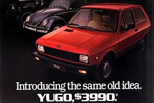Poster/Billboard for Yugo on US market