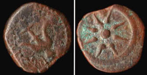 A bronze Widow's Mite or Lepton, minted by Ale...