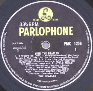 Photo of LP Parlophone label with the beatles