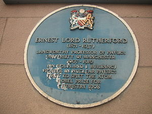 A plaque commemorating Rutherford's presence a...