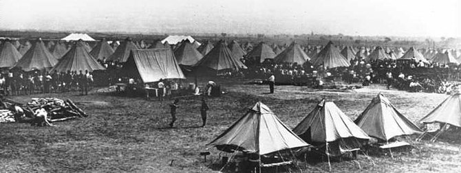 Encampment of National Guard soldiers at Camp ...