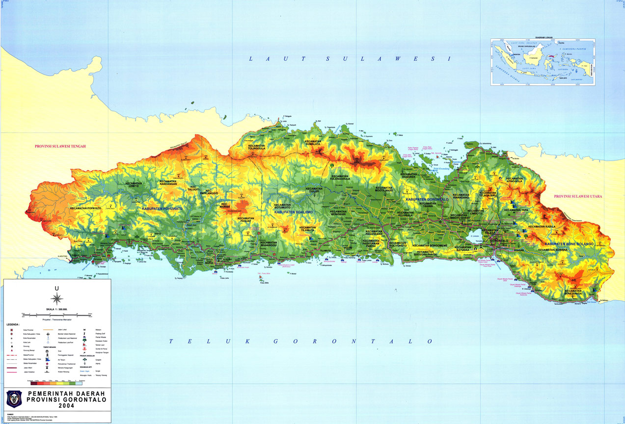 Berkat berada di garis lintang tersebut, bumi pertiwi berada di garis khatulistiwa. Berkas Peta Gorontalo Jpg Wikipedia Bahasa Indonesia Ensiklopedia Bebas