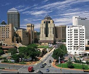 Kawasan Sandton di Johannesburg yang telah menjadi lokasi perusahaan-perusahaan besar penggerak ekonomi Afrika Selatan.