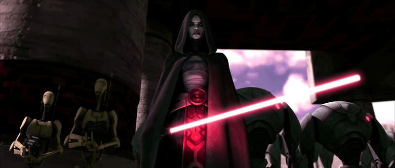 La Sit Ventress - nemica di Obi-Wan Kenobi - in una scena del film