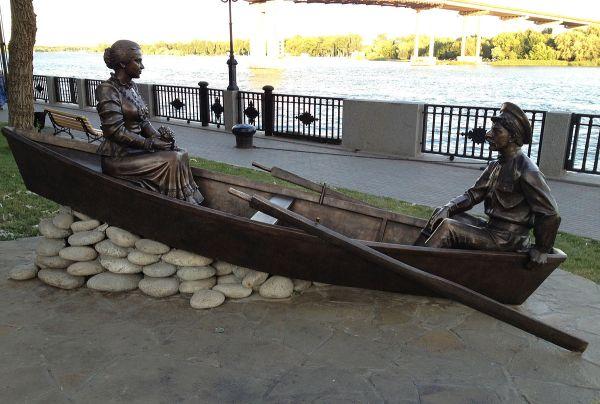 Григорий и Аксинья в лодке — Википедия