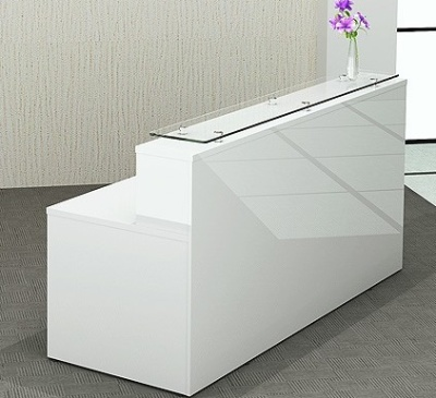 White Gloss Reception Desk Polar Desk Only Online