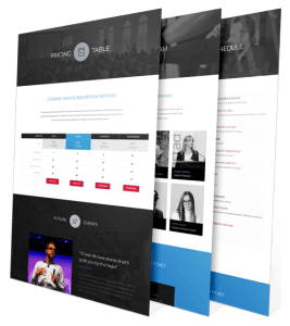 event website webpage layout examples