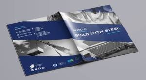 skyclad build with steel brochure front and back cover graphic design