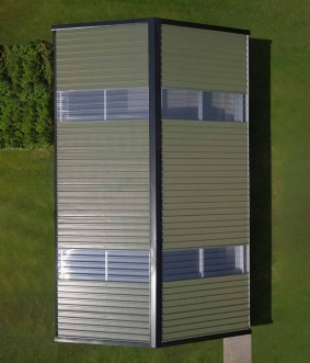 drone aerial photography of skyclad steel frame garden shed in westmeath