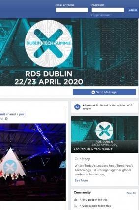 dublin tech summit facebook page screenshot graphic design