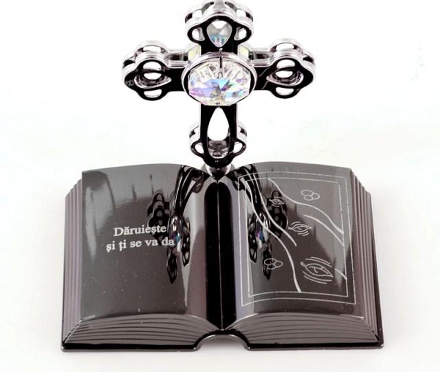 Custom Engraved Cross On Bible Crystal Figurine Christening Gifts Chrome