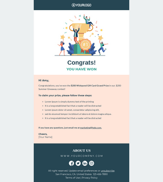 One email blast won't make the sales pile up. Prize Winner Announcement Email Template Unlayer