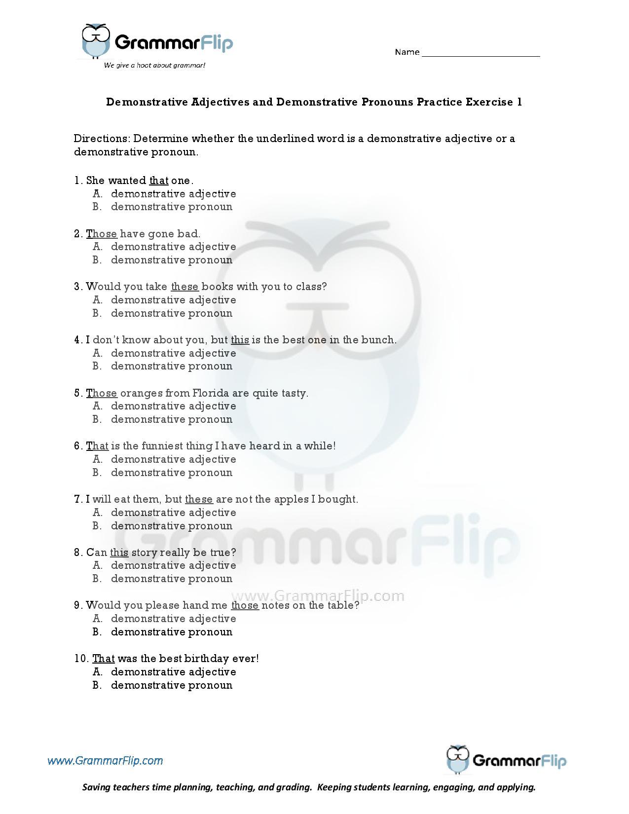 Demonstrative Adjectives And Demonstrative Pronouns