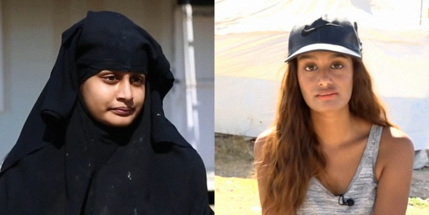Shamima Begum in hijab (l) and in western clothing (r)