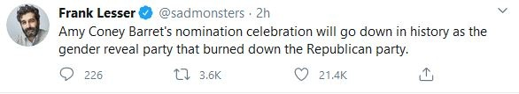 Amy Coney Barret's nomination celebration will go down in history as the gender reveal party that burned down the Republican party.
