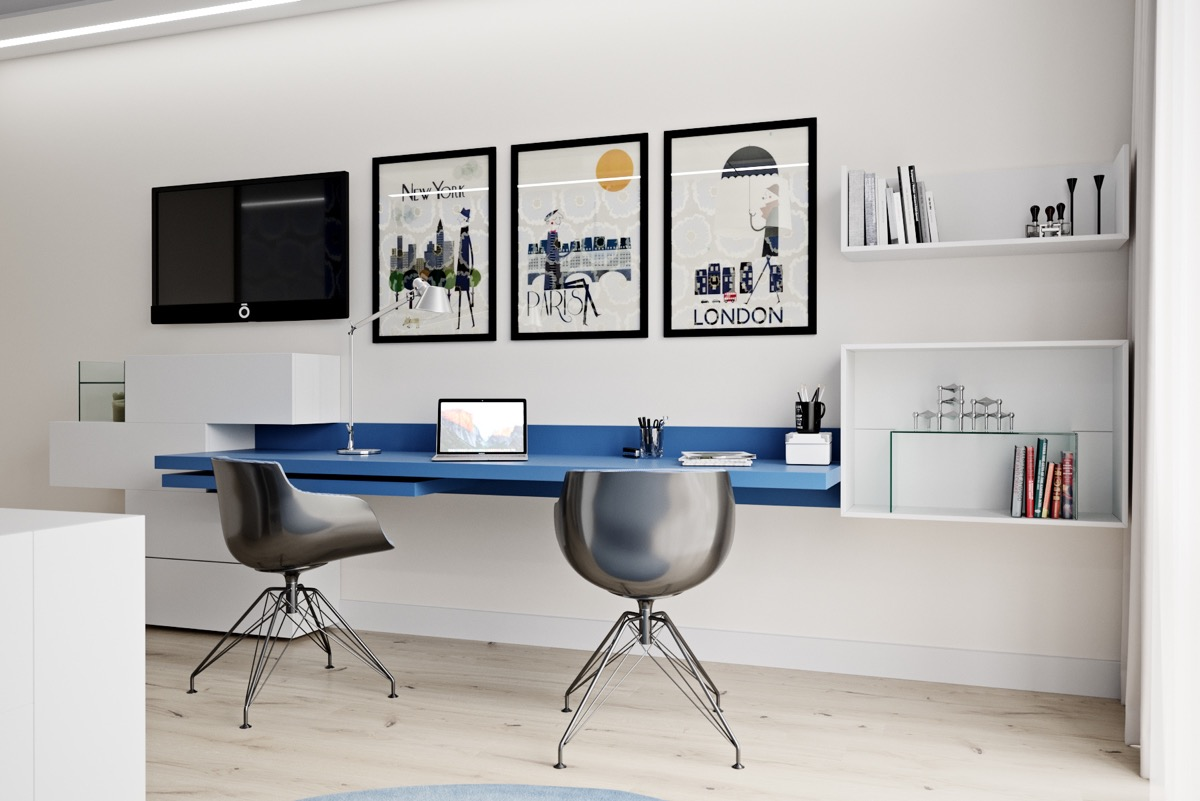 Inspirational Ideas For Twin Home Office Workspaces For Two Occupants