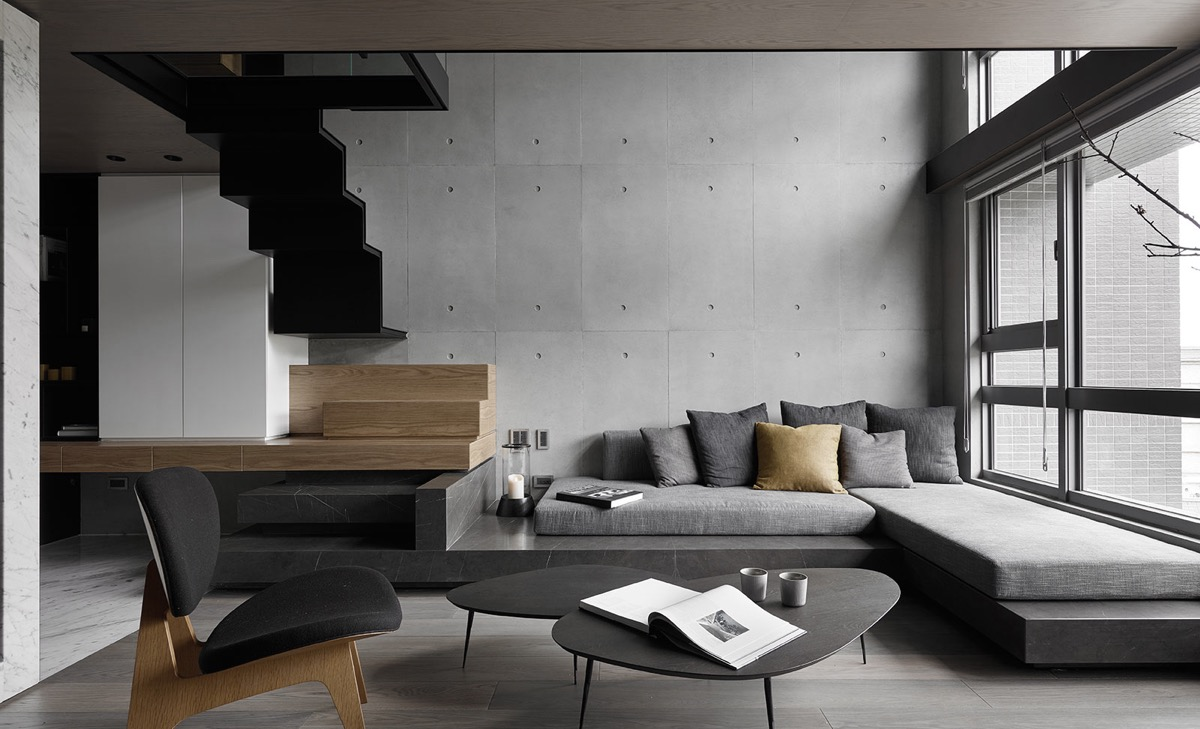 Concrete Wall Zigzag Staircase Gray Color Schemes Living Room 1 Great Idea Hub