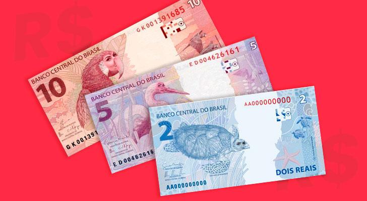 PRATODOSVEREM: Notas de 2, 5 e 10 reais com a face dos animais aparecendo.