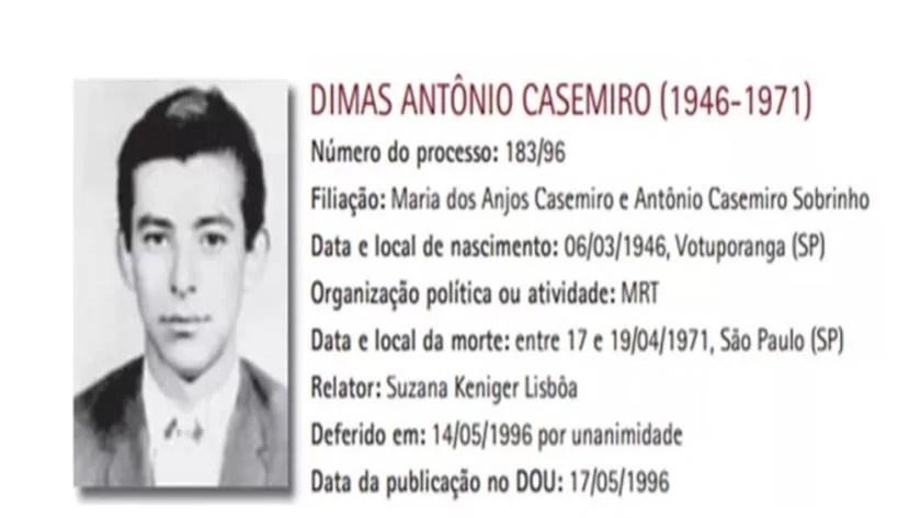 Reprodução/Comissão Especial sobre Mortos e Desaparecidos Políticos
