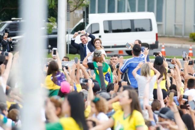 Bolsonaro e a primeira-dama durante cerimônia de posse
