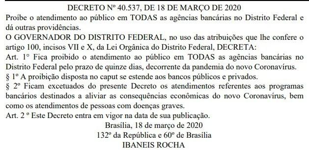 Ibaneis Rocha proíbe atendimento em bancos públicos e privados do DF