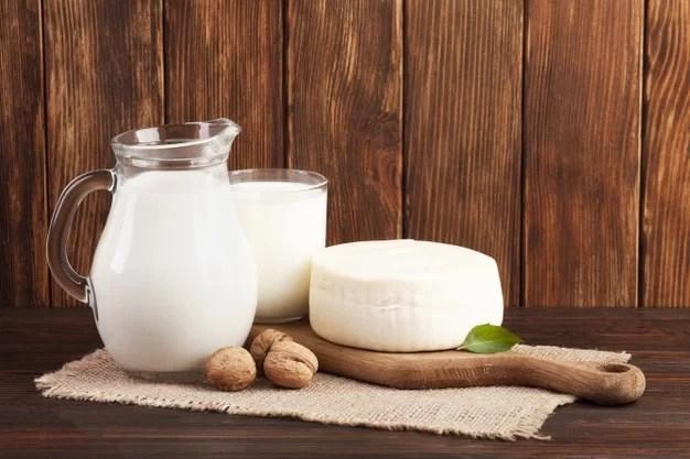 Leite, iogurte e queijo em uma tábua de madeira