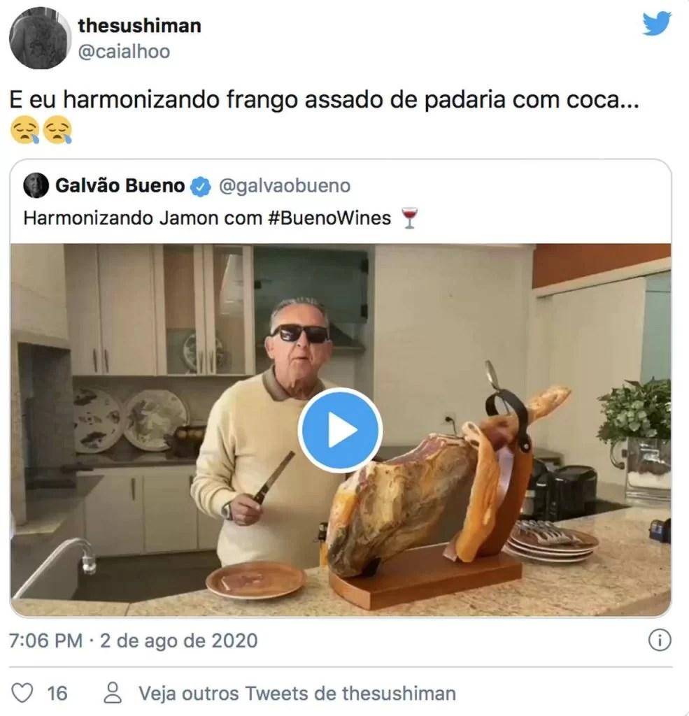 twitter fala sobre quarentena de Galvão bueno