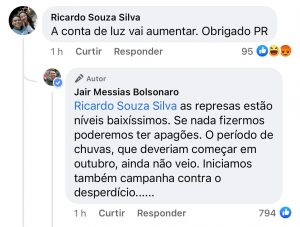 Bolsonaro responde sobre conta de luz