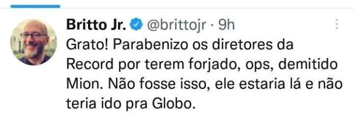 Post de Britto Jr no Twitter