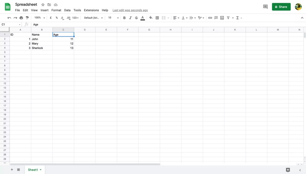 A spreadsheet