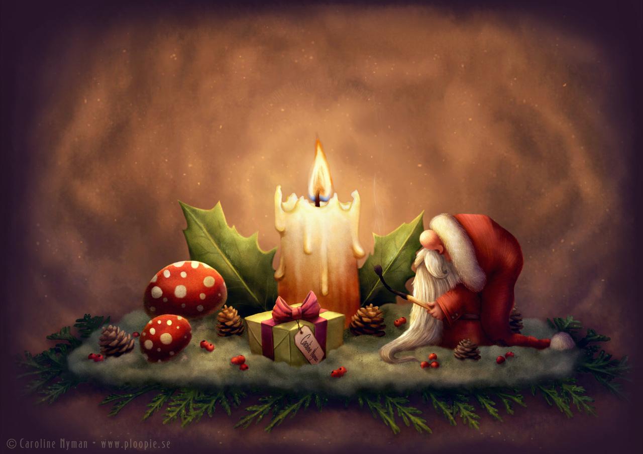 Little Santa Light A Candle Art By Caroline Nyman