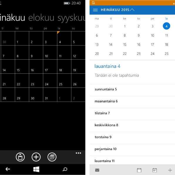 Windows Phone 8.1:n kalenteri vasemmalla ja Windows 10:n oikealla