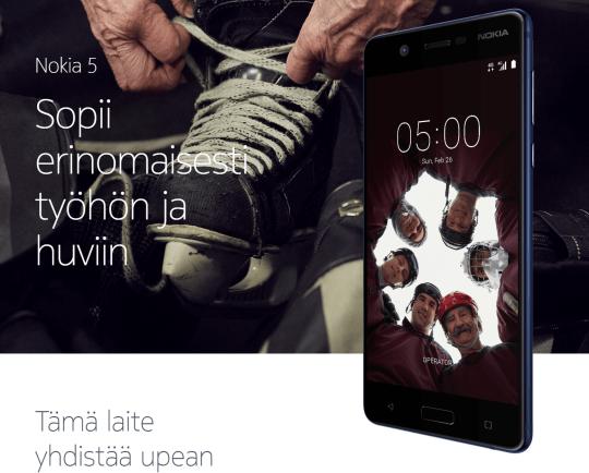 Nokia 5:n tuotesivuilta
