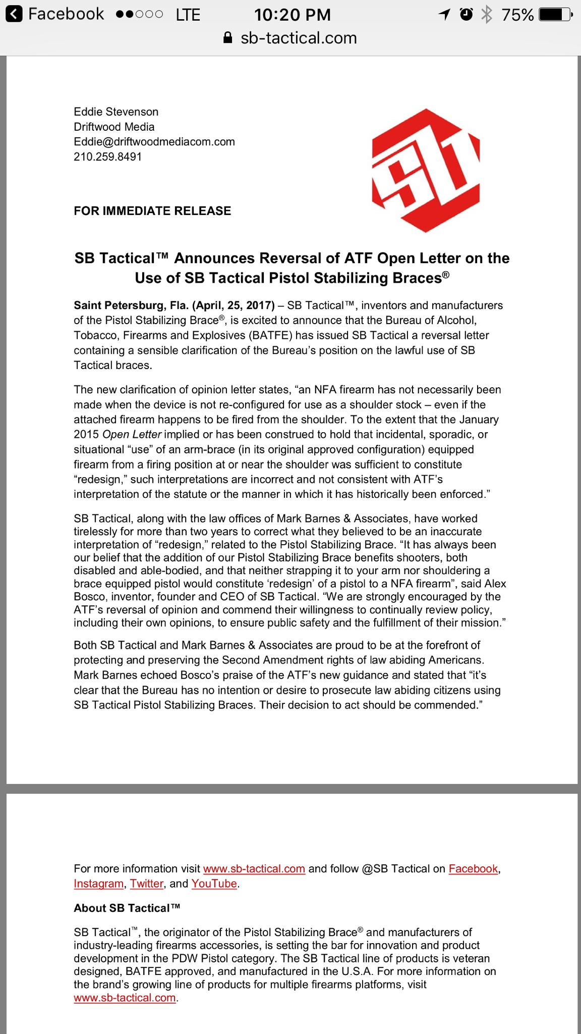 Atf Reversal Letter On Sb Tactical Brace Shouldering
