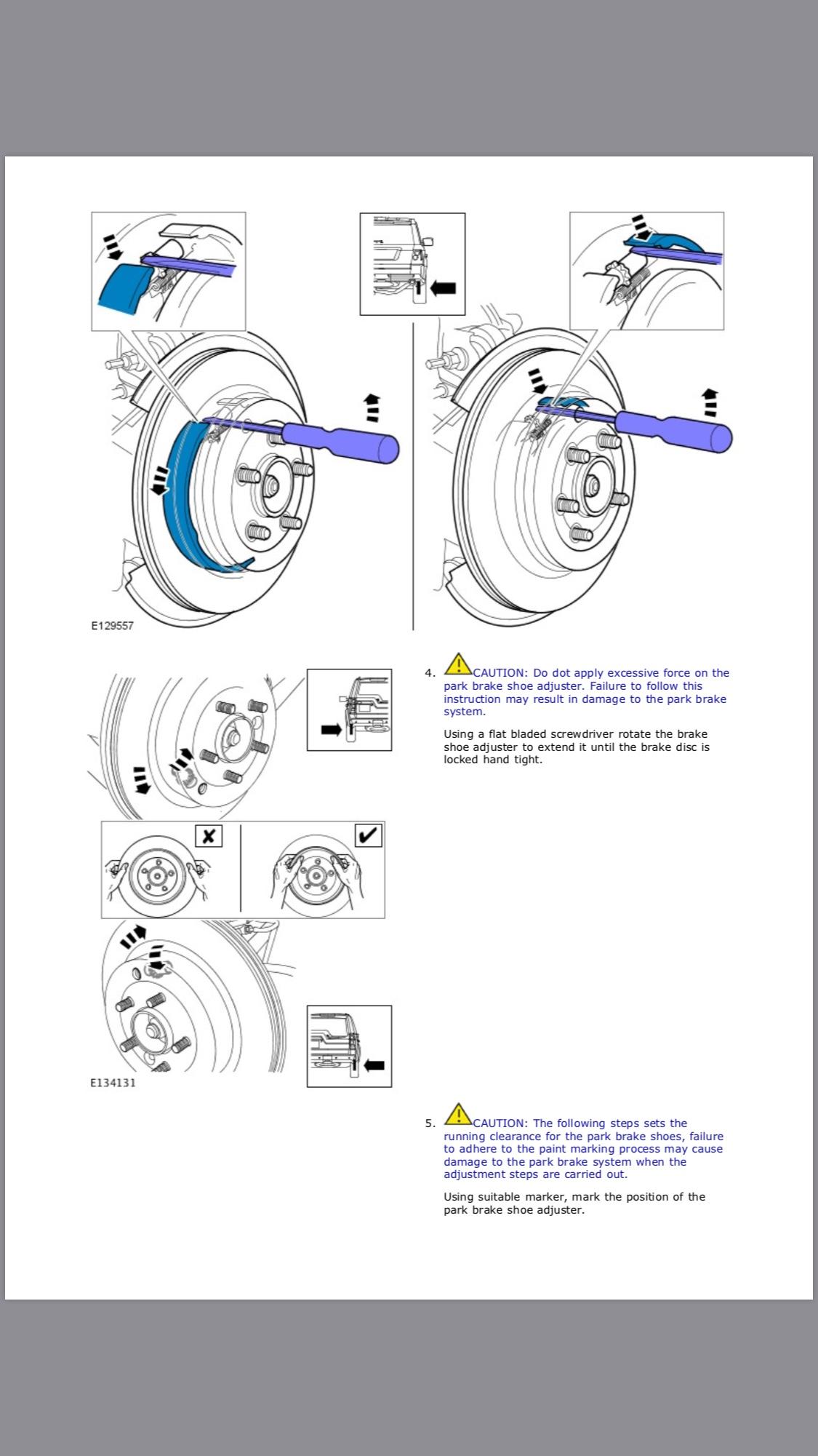 Parking Brake Service Mode And Adjustment Knurl Help