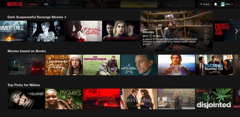 Diseño de UI oscuro para Netflix