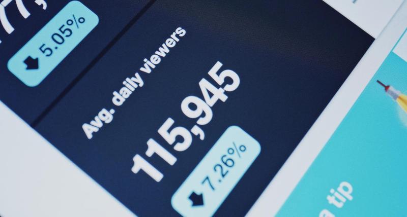 Datos web y móviles en un tablero que muestra el número promedio de espectadores diarios