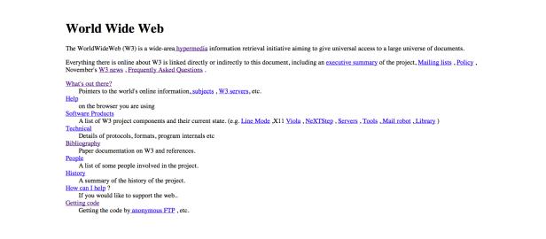 Primer sitio de la World Wide Web en 1991