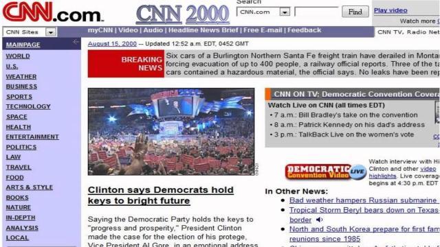 CNN.com website from 2000