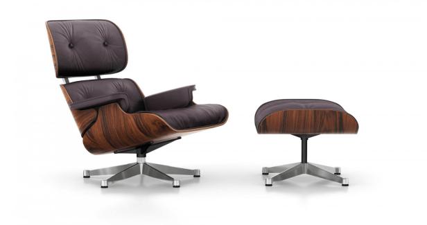 Herman Miller Eames Rosewood 670/671 Silla de Lounge y Ottoman, diseño minimalista